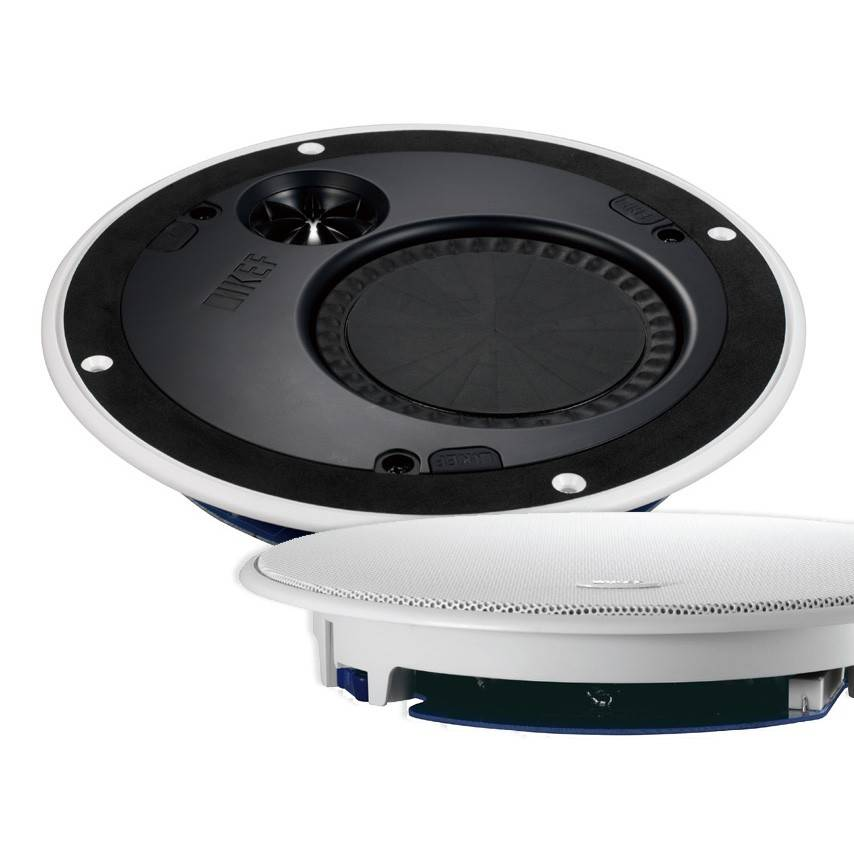Suspending speakers from ceiling wall mounted garage cabinets